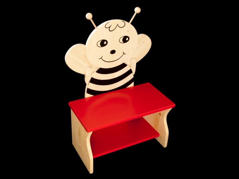 kinder kinderbank biene mit wunschfarbe auf sitzfl che schuhablage kindersitzbank aus holz. Black Bedroom Furniture Sets. Home Design Ideas