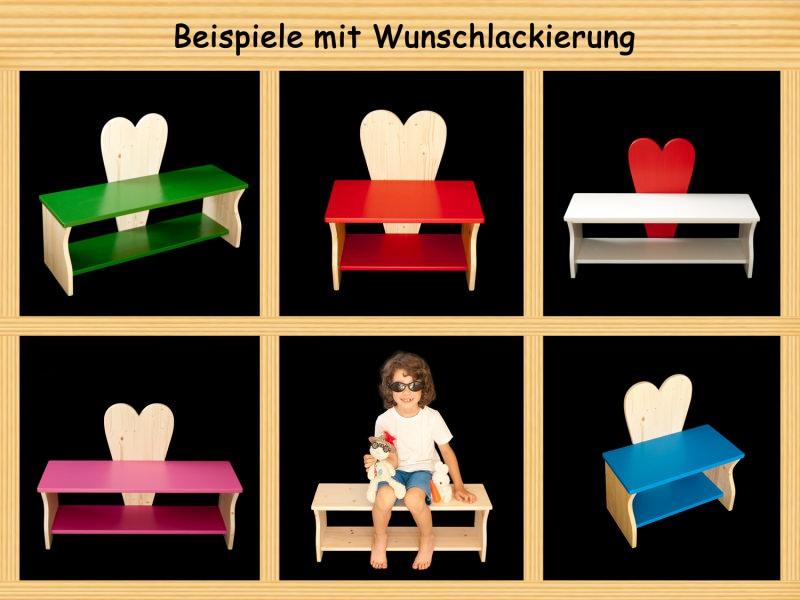 kinder herzbank kinderbank herz mit wunschfarbe komplett lackiert kindersitzbank aus holz. Black Bedroom Furniture Sets. Home Design Ideas