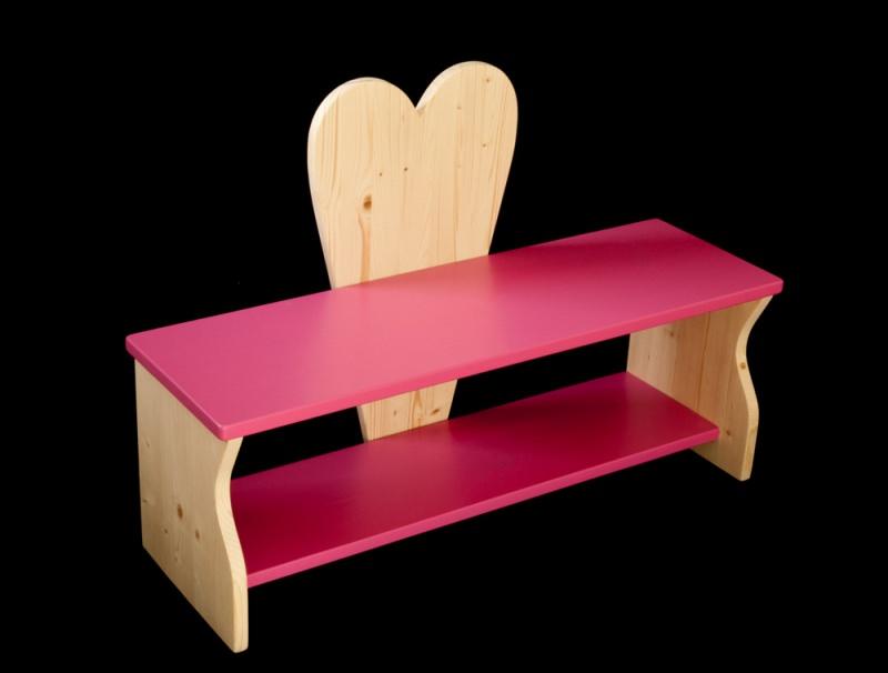 kinderm bel herzbank kinderbank herz mit wunschfarbe auf sitzfl che schuhablage. Black Bedroom Furniture Sets. Home Design Ideas