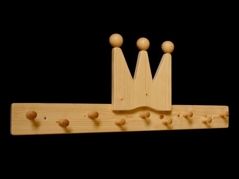 Kleinesbild - Kindergarderobe Krone mit Wunschfarbe (komplett lackiert) Holz Kindergarderobe Krone mit 9 Haken