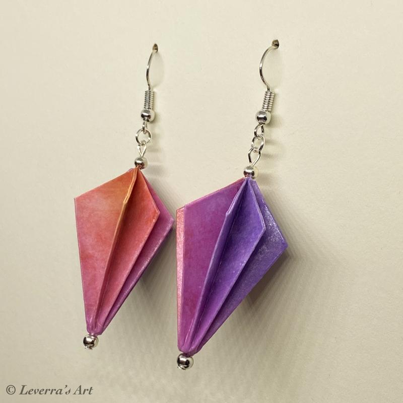 Kleinesbild - Origami Groß Diamant Ohrringe, Japanisch, Handgemacht Schmuck, Perfektes Geschenk, bunt