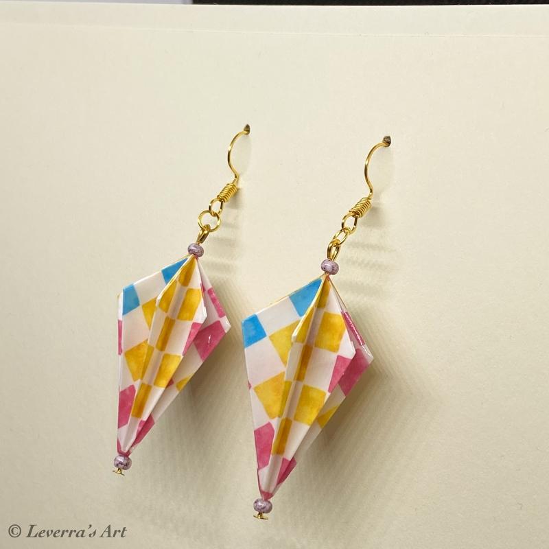 - Origami Groß Diamant Ohrringe, Japanisch, Handgemacht Schmuck, Perfektes Geschenk, bunt    - Origami Groß Diamant Ohrringe, Japanisch, Handgemacht Schmuck, Perfektes Geschenk, bunt