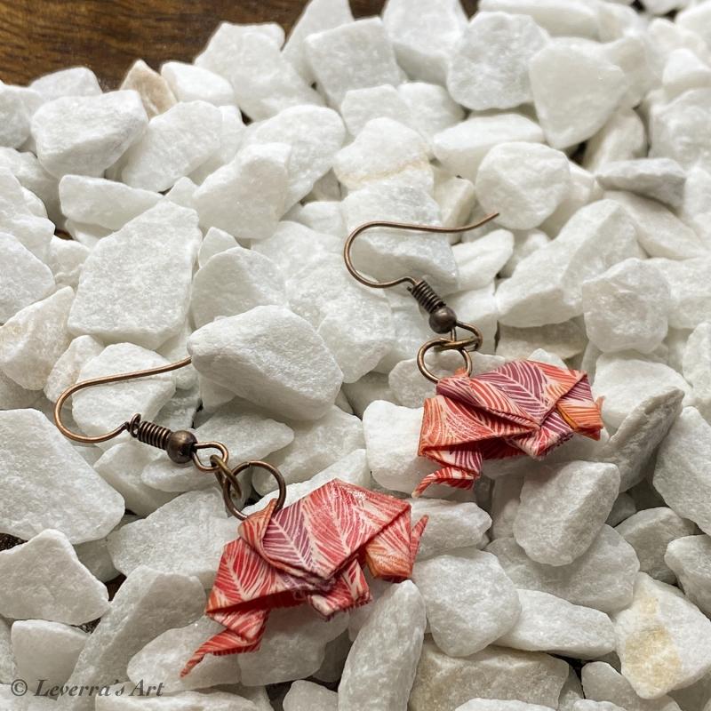 Kleinesbild - Origami Elefant Ohrringe, Japanisch, Handgemacht Schmuck, Perfektes Geschenk, bunt