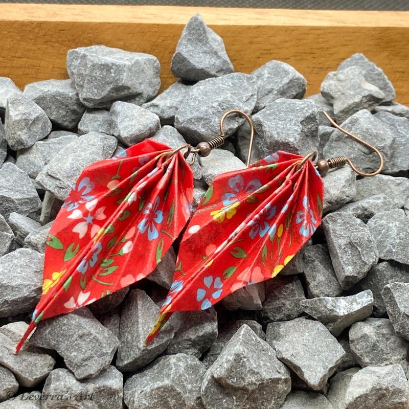 Kleinesbild - Origami Groß Blätter Ohrringe, Japanisch, Handgemacht Schmuck, Perfektes Geschenk, bunt, blumig
