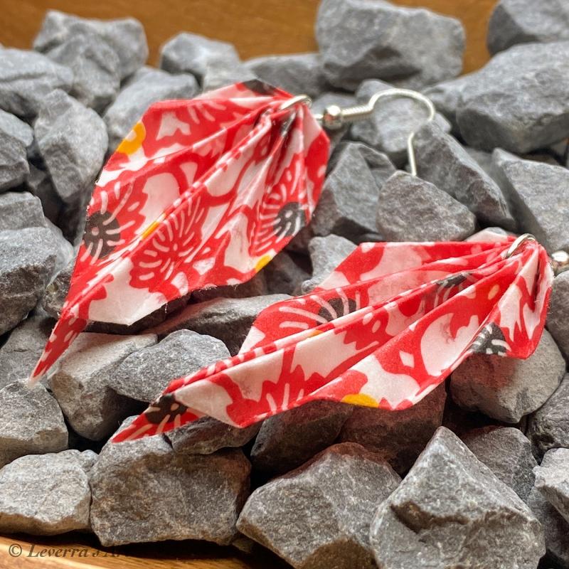 Kleinesbild - Origami Groß Blätter Ohrringe, Japanisch, Handgemacht Schmuck, Perfektes Geschenk, bunt