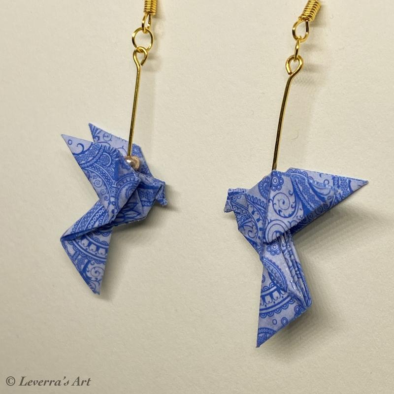 Kleinesbild - Origami Taube Ohrringe, Japanisch, Handgemacht Schmuck, Perfektes Geschenk, bunt
