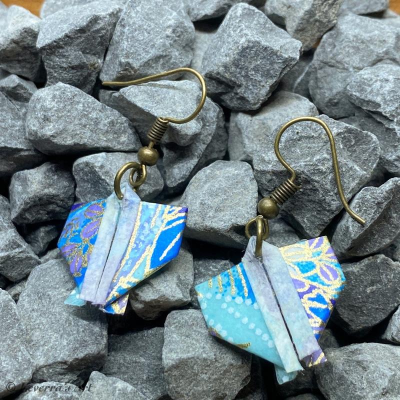 Kleinesbild - Origami Kimono Ohrringe, Japanisch, Handgemacht Schmuck, Perfektes Geschenk, bunt