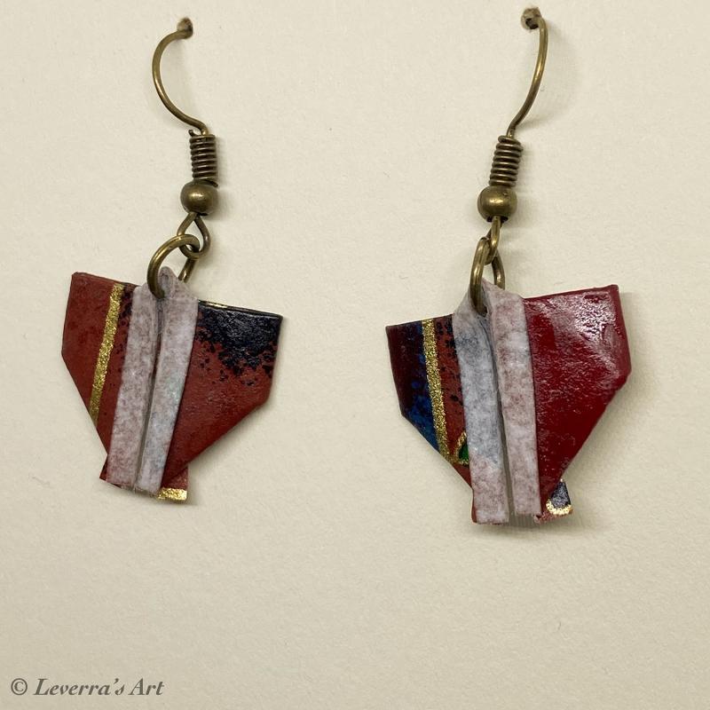 Kleinesbild - Origami Kimono Ohrringe, Japanisch, Schmuck aus Origami Papier, Perfektes Geschenk, bunt
