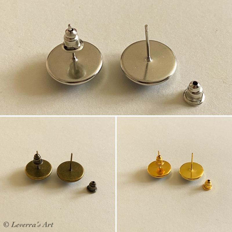 Kleinesbild - Cabochon Glas Ohrringe Ohrstecker 12mm, Waschbär Design, ´Goldfarbenes Metall