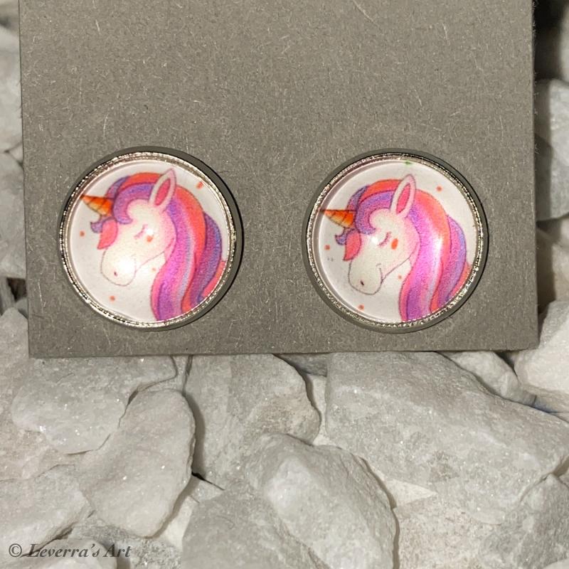 - Cabochon Glas Ohrringe Ohrstecker 12mm, Einhorn Unicorn   - Cabochon Glas Ohrringe Ohrstecker 12mm, Einhorn Unicorn