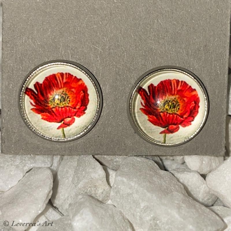 - Cabochon Glas Ohrringe Ohrstecker 12mm, Mohnblumen Design - Cabochon Glas Ohrringe Ohrstecker 12mm, Mohnblumen Design
