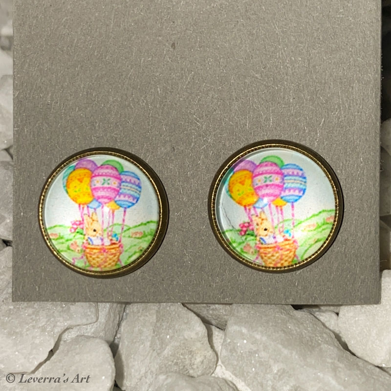 - Cabochon Glas Ohrringe Ohrstecker 12mm,  Ostern Hase Eier Design, Bronzefarbenes Metall     - Cabochon Glas Ohrringe Ohrstecker 12mm,  Ostern Hase Eier Design, Bronzefarbenes Metall