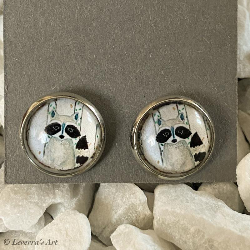 - Cabochon Glas Ohrringe Ohrstecker 12mm, Waschbär Design, ´Silberfarbenes Metall     - Cabochon Glas Ohrringe Ohrstecker 12mm, Waschbär Design, ´Silberfarbenes Metall