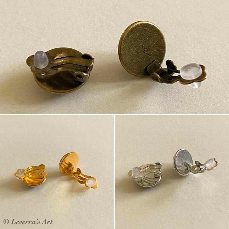 Kleinesbild - Cabochon Glas Ohrringe Ohrclips Ohrklemmen 12mm, Totenkopf Frau Halloween Design, Bronzefarbenes Metall