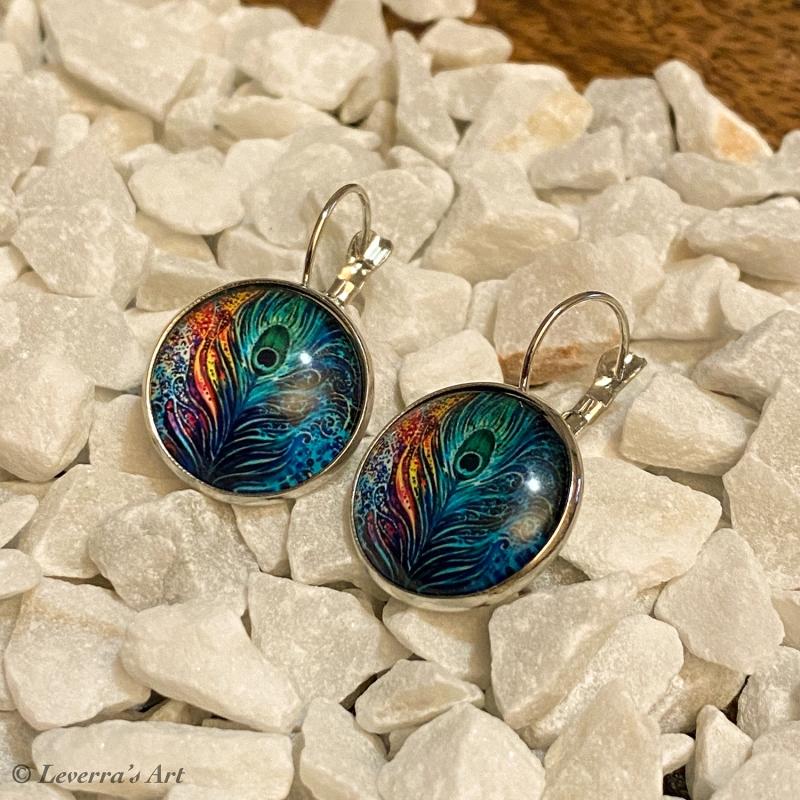 Kleinesbild - Cabochon Glas Ohrringe Ohrhänger 18mm, Pfauenfeder Design, Silberfarbenes Metall