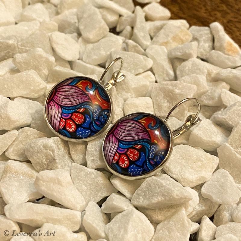 Kleinesbild - Cabochon Glas Ohrringe Ohrhänger 18mm, Blumig bunt Design, Silberfarbenes Metall