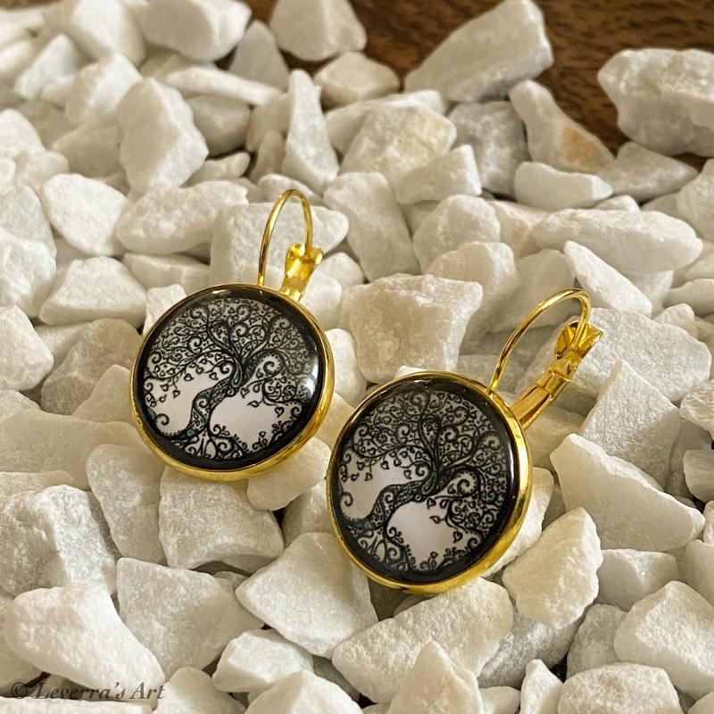 Kleinesbild - Cabochon Glas Ohrringe Ohrhänger 18mm, Lebensbaum Design, Schwarz Weiß, Goldfarbenes Metall