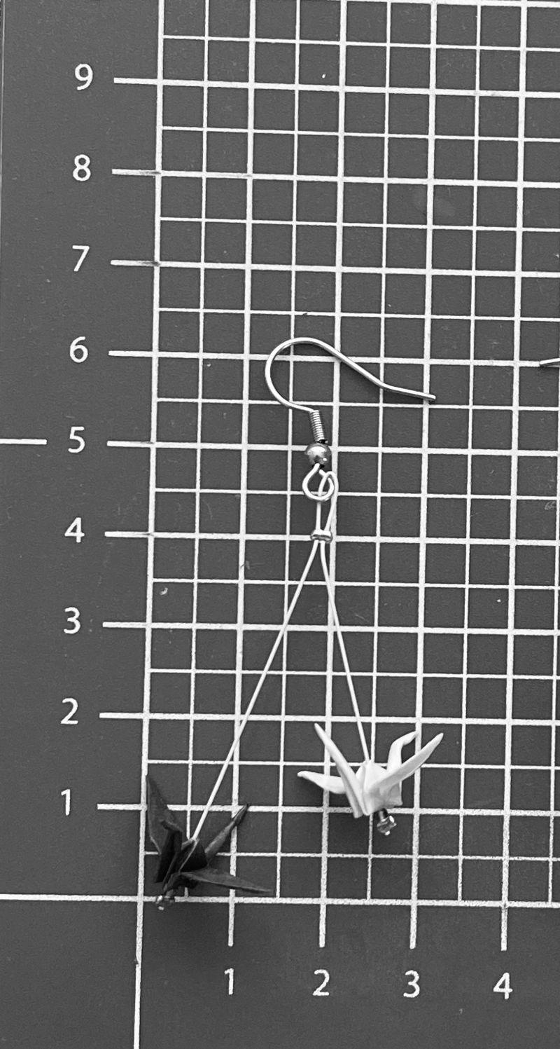 Kleinesbild - LGBT Nonbinary Flagge inspirierte Ohrringe, Gay Pride, Homosexuell Stolz Origami Ohrringe, Kranich Ohrringe, Hypoallergen Ohrringe, Erhältlich in Chirurgenstahl Titan Clips *