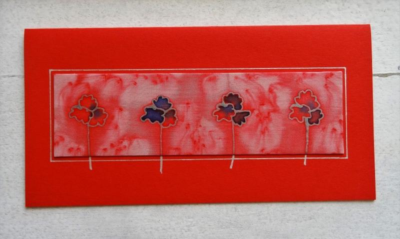 - Grußkarte ohne Anlass, Seidenmalerei rote und blaue Blumen, für Frauen, für Männer - Grußkarte ohne Anlass, Seidenmalerei rote und blaue Blumen, für Frauen, für Männer