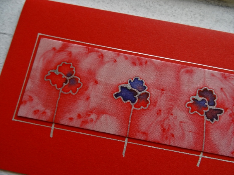 Kleinesbild - Grußkarte ohne Anlass, Seidenmalerei rote und blaue Blumen, für Frauen, für Männer