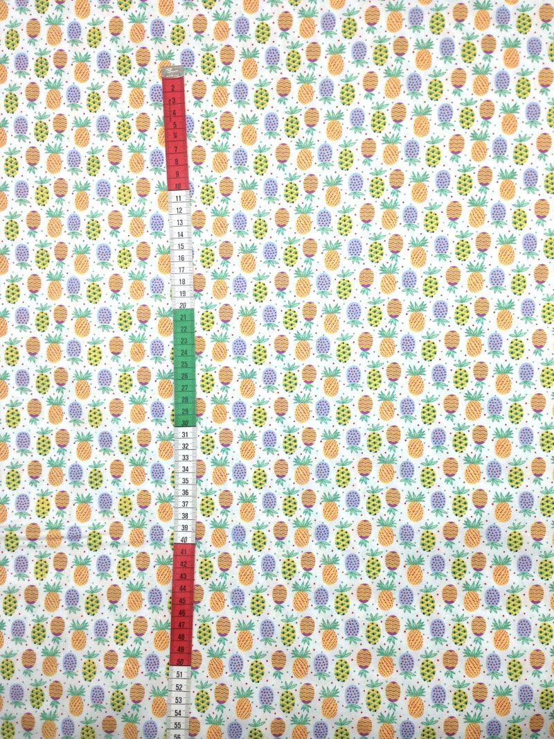 Kleinesbild - Baumwollstoff Ananas Stoffe Meterware Bunt Retro
