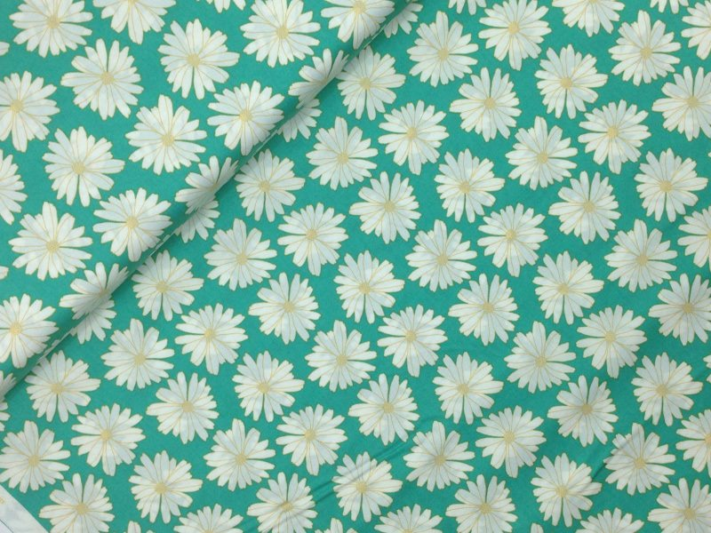 Kleinesbild - Baumwollstoff Meterware Art Gallery Türkis Gänseblumen