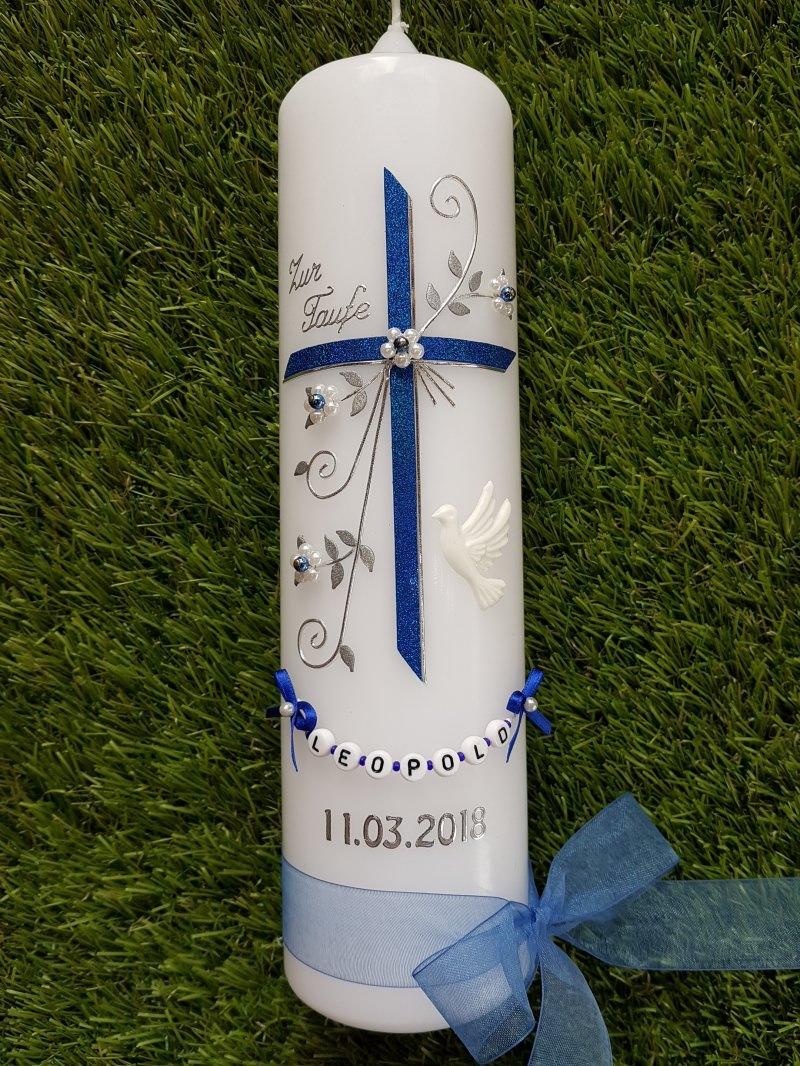 """Kleinesbild - Taufkerze Kreuz &  """"Das Original © der Buchstabenkette""""!"""