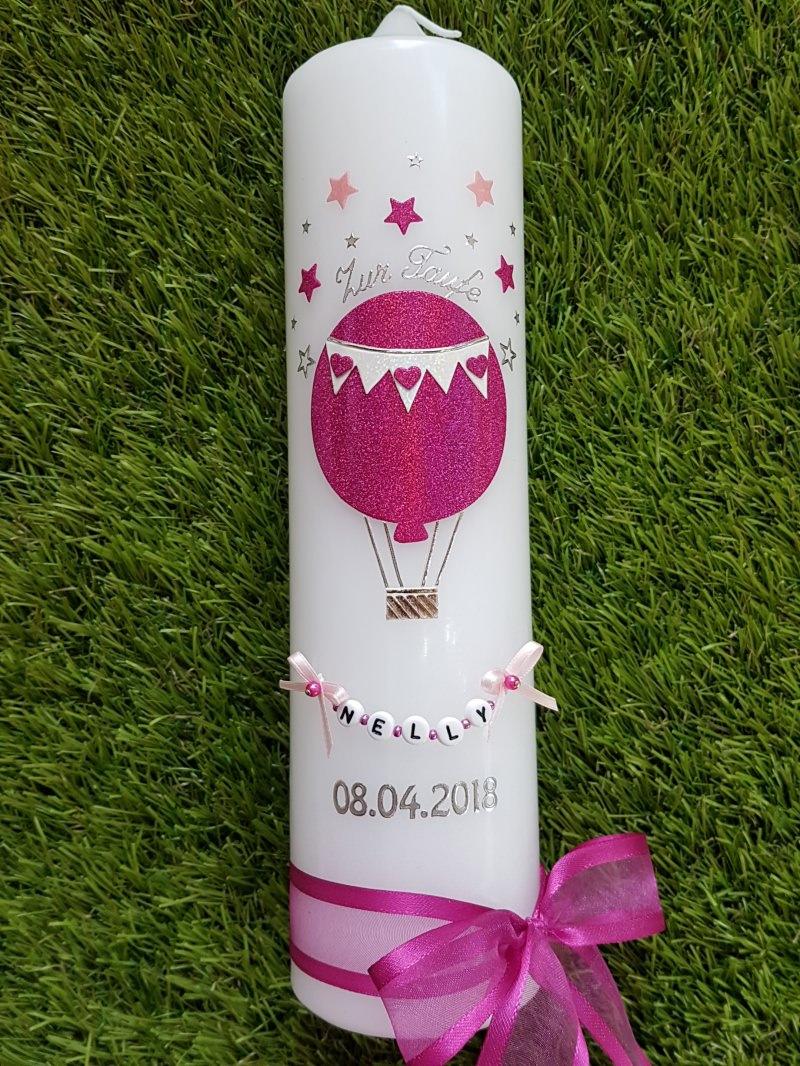 """Kleinesbild - Taufkerze Heißluftballon & """"Das Original © der Buchstabenkette"""""""