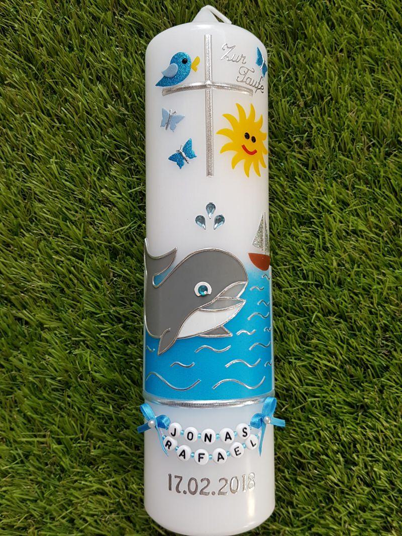 """Kleinesbild - Taufkerze Meer & Wal """"© Das Original"""" mit Buchstabenkette"""