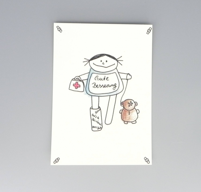 Kleinesbild - Gute Besserung Karte, Postkarte für Gesundheit von nini san