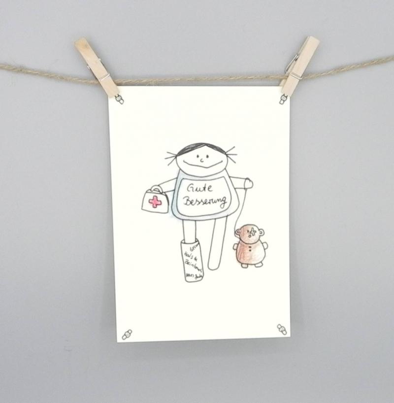- Gute Besserung Karte, Postkarte für Gesundheit von nini san - Gute Besserung Karte, Postkarte für Gesundheit von nini san