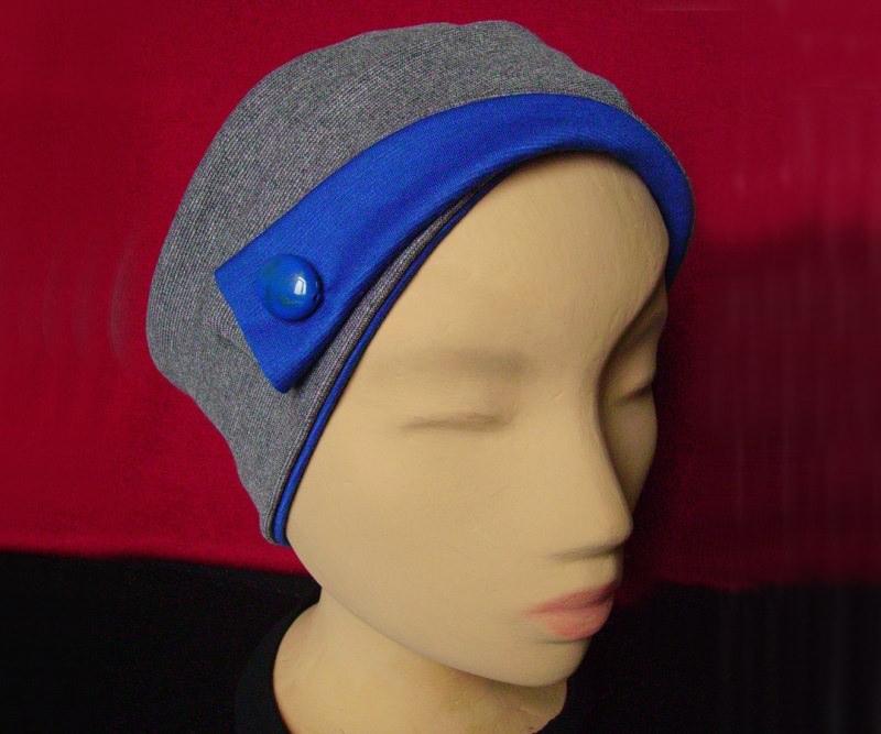 - Elegantes Stirnband in Grau und Blau - Elegantes Stirnband in Grau und Blau