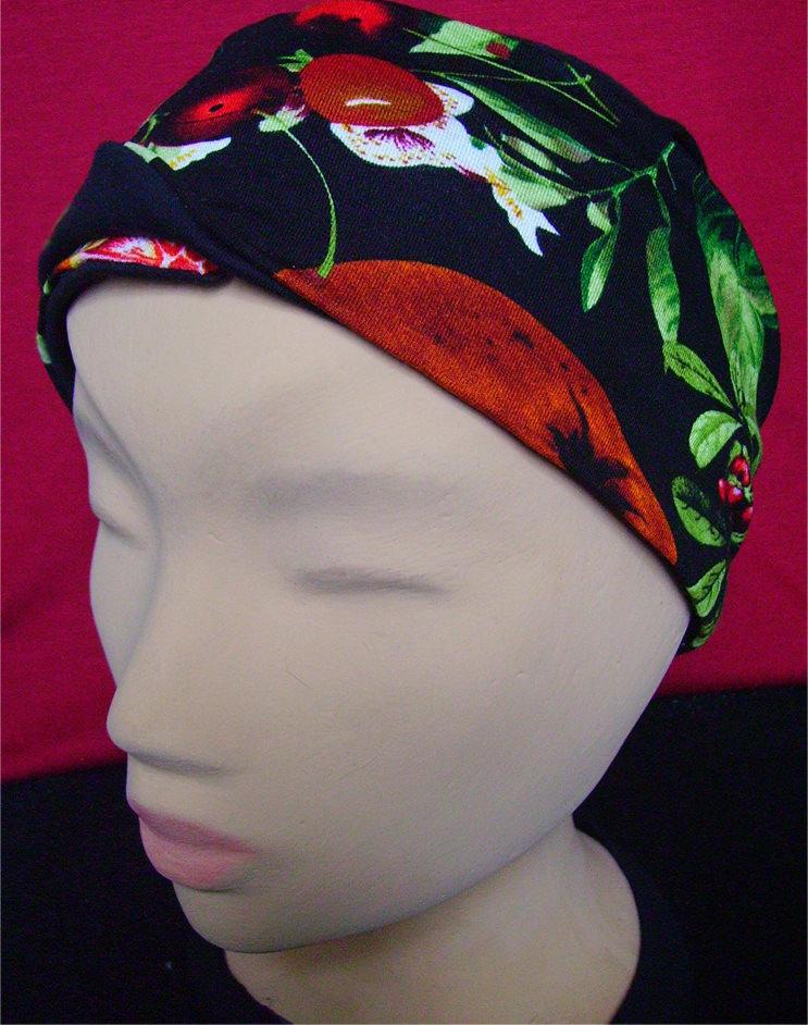 Kleinesbild - Stirnband in Schwarz mit Blumenmuster und Schmucknadel