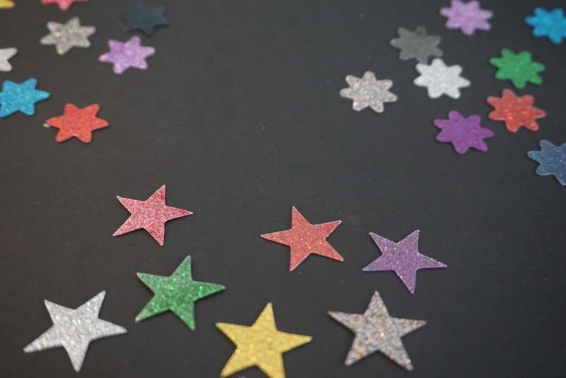 Kleinesbild - Sterne Aufkleber Hotfix Bügelbild Textilaufkleber Glitterfolie bunt 10 Stück