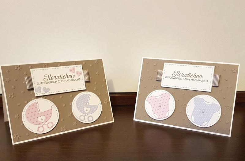 Kleinesbild - Handgefertigte Glückwunschkarte zur Geburt/Taufe von Zwillingen
