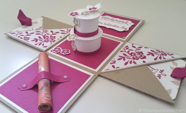 Kleinesbild - Handgefertigte Explosionsbox zur Hochzeit für Geldgeschenke & Glückwünsche