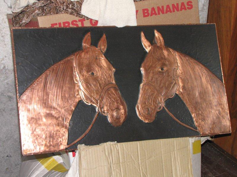 - Sehr schönes Kupferbild 65cm*35cm zwei Pferdeköpfe - Sehr schönes Kupferbild 65cm*35cm zwei Pferdeköpfe