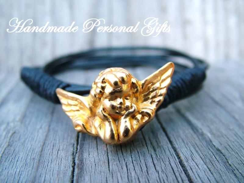 Kleinesbild - Armband Leder , Engel, wrap,Schwarz, Schutzengel, Flügel, Kommunion, Glaube, Weihnachten,