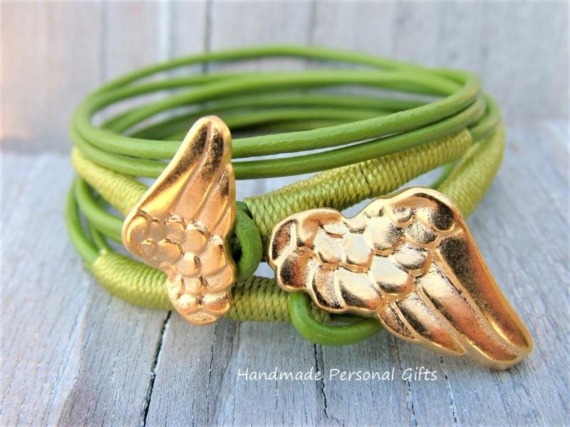 Kleinesbild - Armband für Mutter und Kind, Flügel, 2 stück,  Grün
