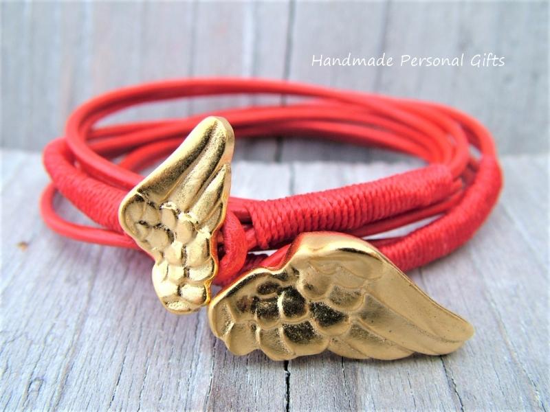 Kleinesbild - Armband für Mutter und Kind, Flügel, 2 stück,  Rot, Taufe, Kommunion, Konfirmation