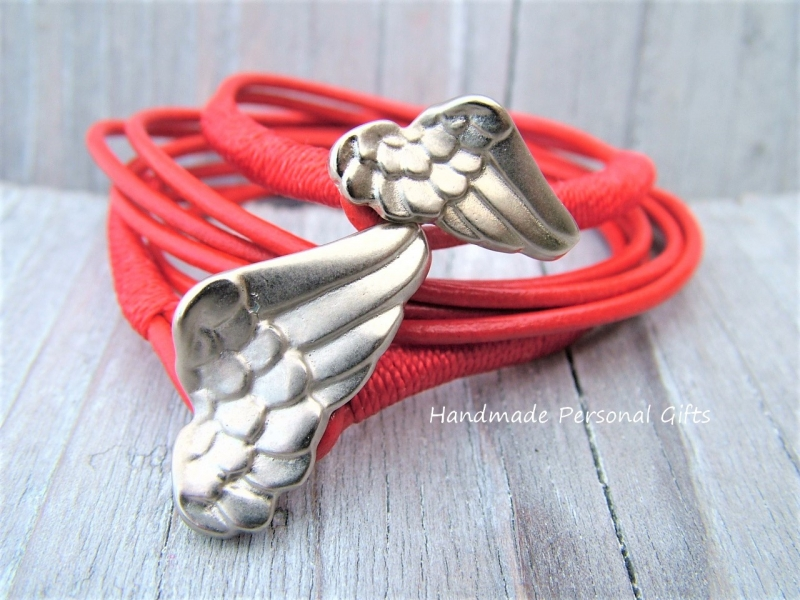 - Armband für Mutter und Kind, Flügel, 2 stück,  Rot, Taufe, Kommunion, Konfirmation - Armband für Mutter und Kind, Flügel, 2 stück,  Rot, Taufe, Kommunion, Konfirmation