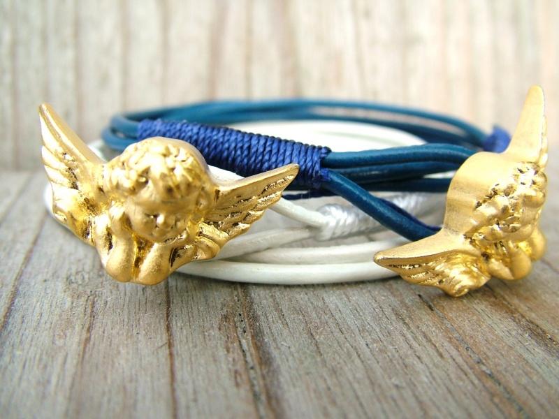 Kleinesbild - Armband Leder, 2 stück, Engel, wrap,Schwarz, Schutzengel, Flügel, Kommunion, palunduzweiteliebe