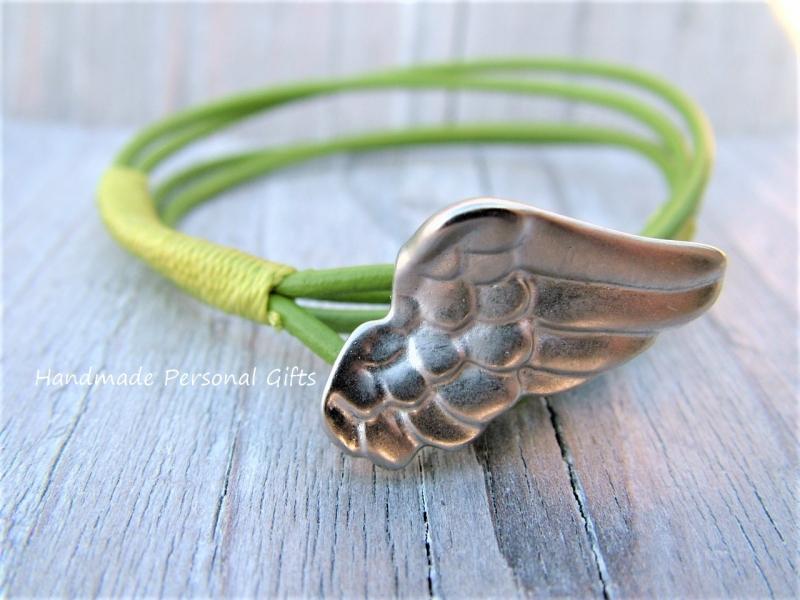 Kleinesbild - Armband für Mutter und Kind, Flügel, 2 stück,  lederarmband Glücksbringer, Engel, Schutzengel, Muttertag, Vatertag