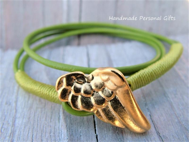 Kleinesbild - Anpassbares Armband Leder, Flügel, Engel Flügel, wrap, Grün, Engelsflügel, Wickelarmband, einzigartig, Schutzengel