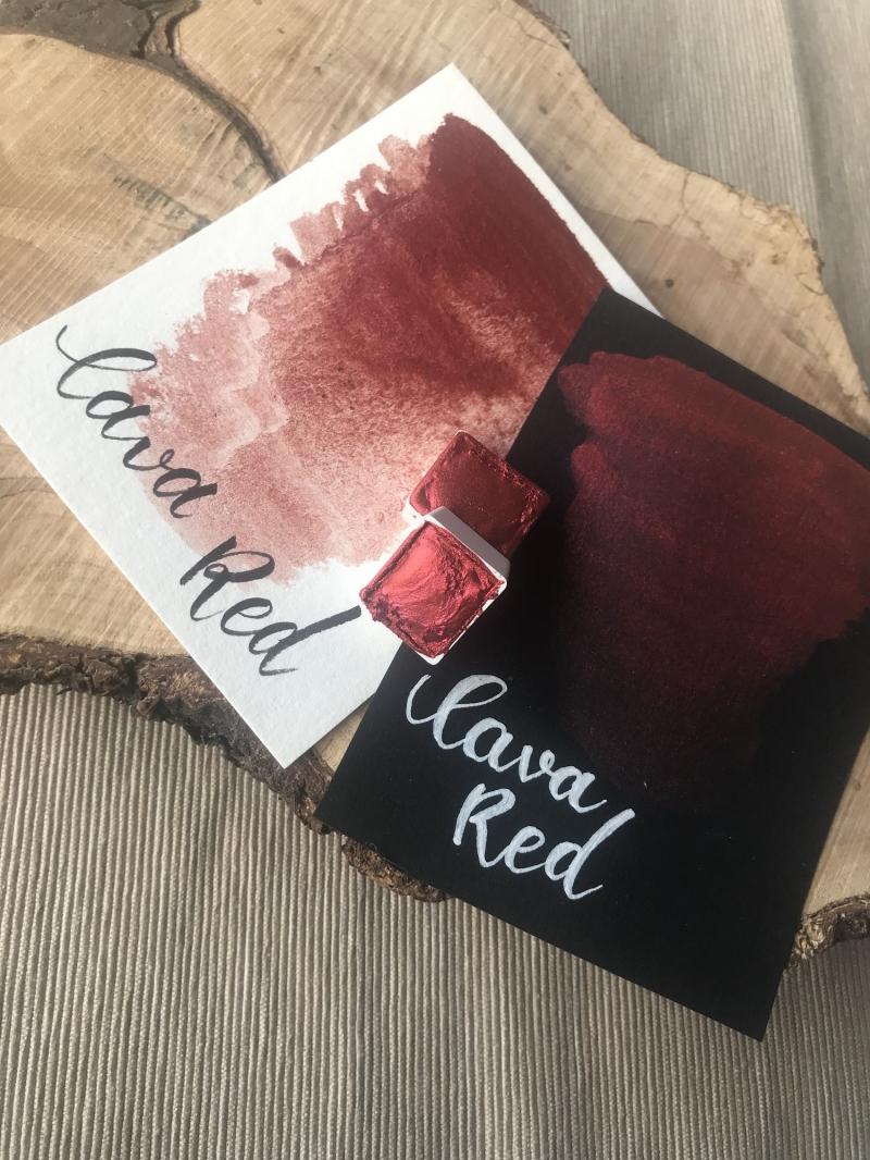 Kleinesbild - Red Lava Watercolor, Metallic, Aquarell, halber Napf