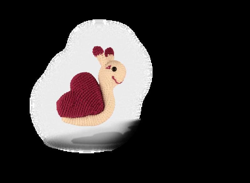 - gehäkelte Schnecke mit lila Herz aus Baumwolle  ♥ - gehäkelte Schnecke mit lila Herz aus Baumwolle  ♥