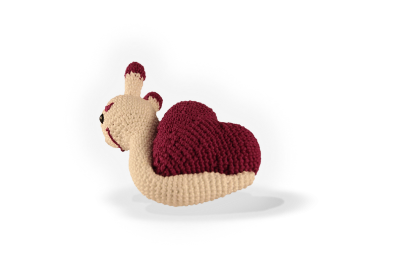 Kleinesbild - gehäkelte Schnecke mit lila Herz aus Baumwolle  ♥