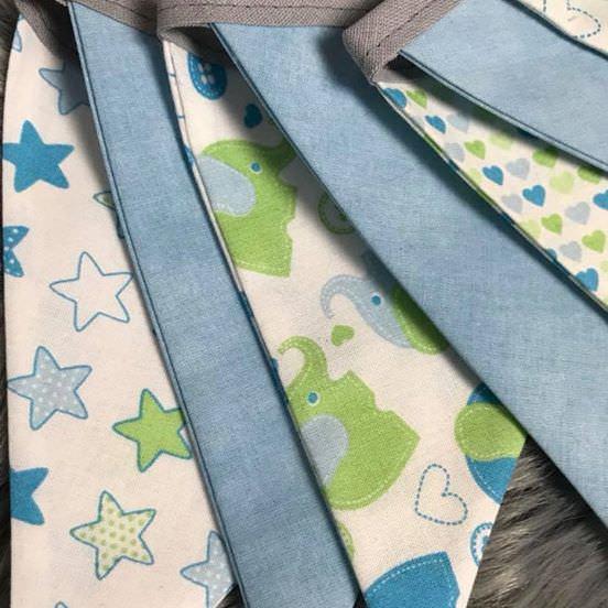 Kleinesbild - Wimpelkette für Babys, liebevoll genäht ,alles aufeinanderabgestimmt