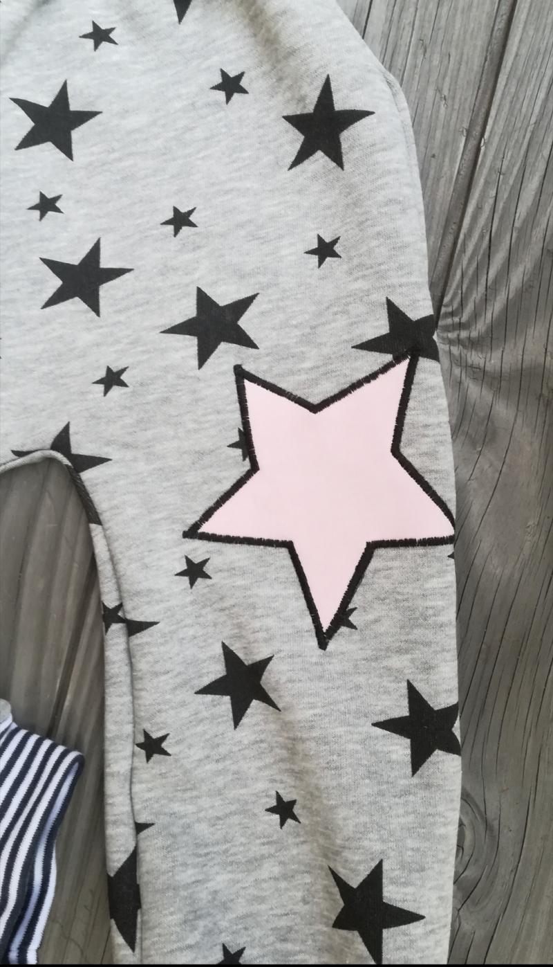 Kleinesbild - Babyhose /Pumphose - Stern rosa 1 - in den Gr.50/56 bis 122  aus Sweat