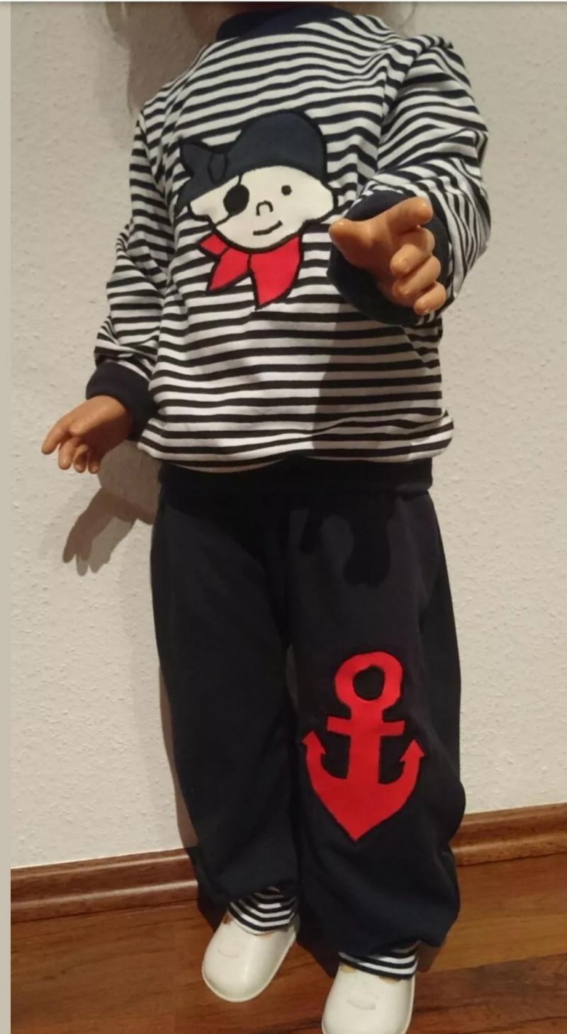 - Set aus Langarmshirt und Pumphose -kleiner  Pirat - in den Gr.74/80 bis 122/128  aus Jersey   - Set aus Langarmshirt und Pumphose -kleiner  Pirat - in den Gr.74/80 bis 122/128  aus Jersey